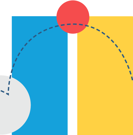 Illustration representing connection with two vertical bars, a circle between them, and a curved dotted line connecting them