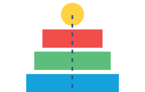 Illustration representing quality with a circle sitting atop a pyramid and a dotted line running through the center