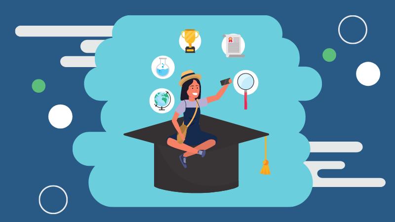 Illustration of a student sitting on a graduation cap